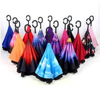 Wholesale Windproof Reverse Folding Double Layer Inverted Chuva Umbrella Self Stand Inside Out Rain Protection C Hook Hands Free DHL