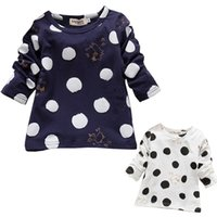baby long sleeve undershirts - New style Printed Spring Baby Tees Girls Undershirt Round Neck Long Sleeve Children Clothes Kids T shirt