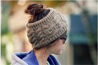 Wholesale 2017 Ponytail Knit Hats Autumn Winter Fashion Street Hat Beanie Knitted Hat Unisex Cap Headgear Headdress Head Warmer Skiing Caps