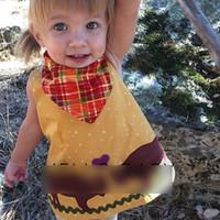 achat en gros de robe d'été petites filles jaune-Summer Baby Girls Tops Cartoon Chemises Petite Mouton Veste Sans Manches Nouvelle Princesse Chemise Robe Tee Baby Girl Coton Jaune A6518