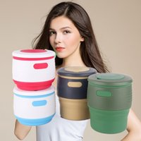 Wholesale Creative Collapsible Cups ml for Water Coffee Fruit Juice Folding Cup Food Grade Silicone Portable Travel Mug Drink Cup Flexible Outdoor