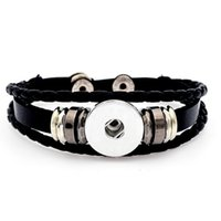 Wholesale Fashion Snap Leather Bracelets Noosa mm Snap Buttons Charms Bracelet Multilayer braiding Unisex Snaps Jewelry