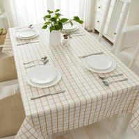 Wholesale Simple brown lattice cotton linen dining table side table Table Cloths