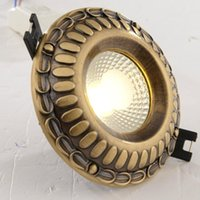 Wholesale Thickened Copper COB LED Ceiling Light Bronze Bedroom Downlight Down Light Built in Ceiling Light Bedroom Driver Warranty year free shippi