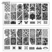 Wholesale Sexy Flower Lace Nail Stamping Plates Stainless Steel Nail Art Stamp Polish Stencils Template Manicure Nail Tools BC01