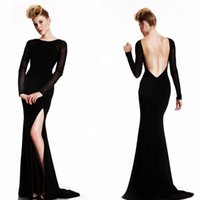 Wholesale Celebrity oscar red carpet gown sexy mermaid split long sleeve plus size tulle backless Prom Gowns Formal Custom Evening Party Club Wear