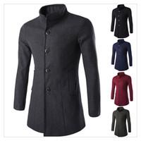 Wholesale Mens Winter Jackets New Arrival Autumn Winter Fashion Lapel Long Coats in Men s Wool Windbreaker Jackets SIZE XS XL