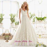 Wholesale 2017 Ivory Vintage Princess Wedding Dresses Lace Beaded Louisvuigon Belt V neck Backless Wedding Bridal Gowns Vestido de Noiva