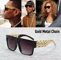 al por mayor inspirado kim kardashian-La nueva celebridad 2016 de la manera inspiró los vidrios de sol de Hip Hop del vintage de las gafas de sol de Kim Kardashian Beyonce del metal del oro de Oculos De Sol