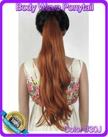 Wholesale quot cm g body wave ribbon ponytail hairpiece hair pieces clip in hair extensions color J Medium Copper Red