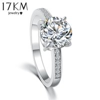 Wholesale 17KM Fashion Design Elegant Luxury Charm Austrian Crystal Zircon Ring Wedding Engagement Bridal Jewelry Rings For Women