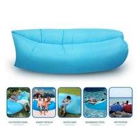 Bolsas de bolsillos Baratos-Bolsa de dormir inflable de aire rápido Hangout Lounger Air Camping Sofá Portable de playa Nylon cama de dormir de tela con bolsillo y anclaje HHAK