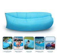 Barato Fabric sofa-Saco de dormir de ar inflável rápido Hangout Lounger Air Camping Sofa Portable praia Nylon tecido dormir cama com bolso e âncora HHAK