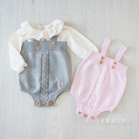 Wholesale Hot Children Clothings Autumn Toddler Baby Boy girl Overalls Button Rompers Princess Kids Clothes