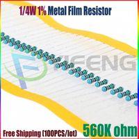 Venta al por mayor NUEVO 100pcs 560K ohmio 1 / 4W 560K Resistor de película de metal 560Kohm 0.25W 1% ROHS