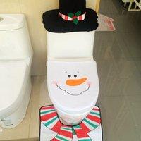 Cheap Wholesale-1Set 3PCs Snowman Christmas Toilet Cover Set Seats Rug Pad New Arrival Cute Navidad Ornaments Xmas Decoration For Home Bathroom