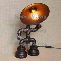 bar table lamps - Vintage Water Table Lamps Water Pipe Table Lamp Edison Light Bulb Lamp Retro Iron Pipe Creative Personality Loft Bar Cafe Table Lamp