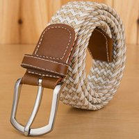 Casual hombres mujeres lona cinturón de alta calidad tejida elástico estiramiento cinturones de cuero pin hebilla cinturón para mujer Cointurones Mujer