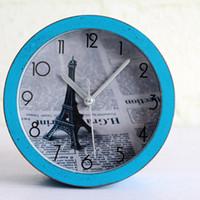 al por mayor relojes de alarma de la vendimia-Venta al por mayor-francés vintage antiguo estilo Torre Eiffel escritorio reloj números romanos tabla despertador reloj de decoración del hogar silencioso para estudio