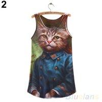 achat en gros de zèbre t-shirt pour les femmes-Wholesale- FAshion Summer Tops sans manches Cat Zebra imprimé graphique T-shirt femmes Tee Vest Tops 02JM