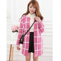 Wholesale knitted sweater long Cardigan for women Fashion Couture autumn new irregular Plaid candy color block spliced