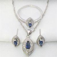 africa shaped necklace - Horse eye shape sterling silver jewelry set women color diamond wedding bride Africa imitation gemstone Jewerly sets