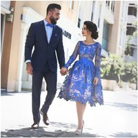 Wholesale Long Sleeve Prom Dresses Women Formal Evening Dress Cocktail Homecoming Party Gown Sheer Neck Arab Royal Blue Lace Sheer Neck