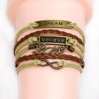 Wholesale New Popular fashion multi layer braided shaped bracelet Hot sell Love bracelets women braided leather rope DIY handmade Jewelry