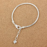Precio de Broches para los encantos-Pulsera de corchete de langosta cadena de serpiente de 3MM plata de ley 925 plateado estilo europeo joyas de moda para el encanto de Pandora