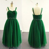 Wholesale 2016 Green Ball Gown Little Girl Pageant Dresses Double Strapped Beaded Pleated Ruched Tulle Dress