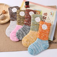 baby bamboo socks - Kids Slub Cotton Warm Stockings Baby Contrast color cotton Pile Socks sizes colors for Toddlers boys girls T