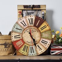 antique wood wall clock - 18 Design Vintage Antique Wall Clocks MDF D Retro Clock Watch Home Decoration Round Country Tuscan Style Paris Wood Clock