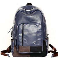 backpack collections - Patchwork Knapsack PU Shoulder Bags for Men New Collection School Bags Factory Price Fashion Backpack P700018
