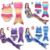 Cheap Three Piece Set Kids Mermaid Swimsuits Best Girl Children's Day Mermaid Swimmable Bikini
