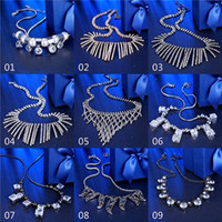 Wholesale 15pcs model mixed order fashion african style crystal stones tennis choker necklaces bohemia statement necklaces for women NL153