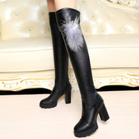 Wholesale Dong han edition female their new knee high boots thick with high heel boots thin leg boots for women s shoes