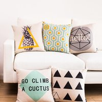 apple decorative pillow - Modern creative geometry Hexagonal pattern pineapple triangle office decorative throw pillows apple pen home décor cushions cover for sofa
