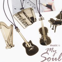Metal Bookmark Guitar Wholesale-Cute Kawaii Golden Metal Music Bookmarks Piano Guitar Trumpet Designs Book marks Korean Stationery Gifts Free shipping 822