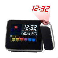 Wholesale Portable LED projector backlit LCD Screen Alarm Clock Weather Station Clock Weather Multi function LCD clock hours and hours time for
