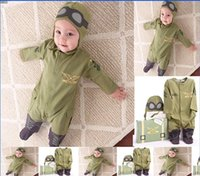 baby flight suit - Baby polit suit Long Sleeve Rompers set with Hat Boy Baby Girls Jumpsuit Flight Member Infant Baby Clothing Spring Autumn