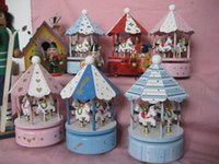 Wholesale The explosion of the wooden umbrella carousel music box music box music box wooden ornaments