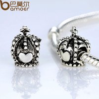 Wholesale VOROCO Vintage Antique Silver Plated Heart Crown Charm Fit Original Pandora Bracelet Necklace P5218