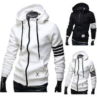 Wholesale Men Hoodies Sweatshirt Casual Male Hooded Jacket Long Sleeve Slim Design Mens Zipper Hoodie Black White Color with pocket