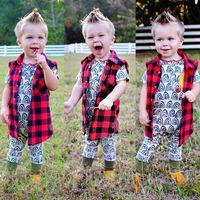 best kids clothing brands - 2017 Autumn Boys Girls Tops Baby Ins Clothes Best Cotton Shirts Kids Plaid Shirts Baby European Sleeveless T Shirts