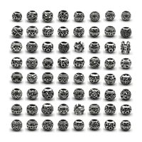 Wholesale 100pcs Big Hole DIY Beads for Jewelry Making Up Bracelets Charms Materials Vintage Round European Mixed Style Silver Pllated Bead