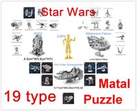 Wholesale Mini Qute Piece Fun D Star wars Xwing ATAT Millennium Falcon BB8 Vader Tie Fighter Metal Puzzle adult models educational toy new
