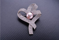 Wholesale Fashionable Flower Brooch Pin Half Silver Accessories Fresh Water Pearl Brooch for Women Garment Accessories Jewelry Brooch Pin N48