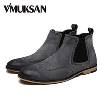 Wholesale VMUKSAN Mens Fashion Boots Suede Leather Designer Shoes For Men Chelsea Boots New LUX Booties Slip On Botas Black Man Shoes