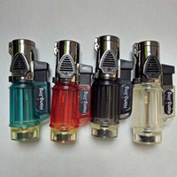 Wholesale 3 torches Windproof Triple Jet Flame Torch Cigar Lighter Refillable Butane Gas Cigarette Cigar Lighter with Keychain