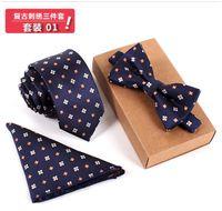 Wholesale new sets Men Bow Tie and Handkerchief Set Bowtie Slim Necktie Cravate Homme Noeud Papillon Man Corbatas Hombre Pajaritas